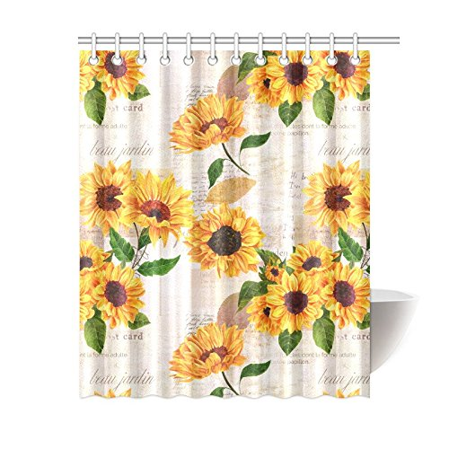 mkhert vintage sunflowers on postcards newspaper house decor shower curtain for bathroom decorative bathroom shower curtain set 60x72 inch
