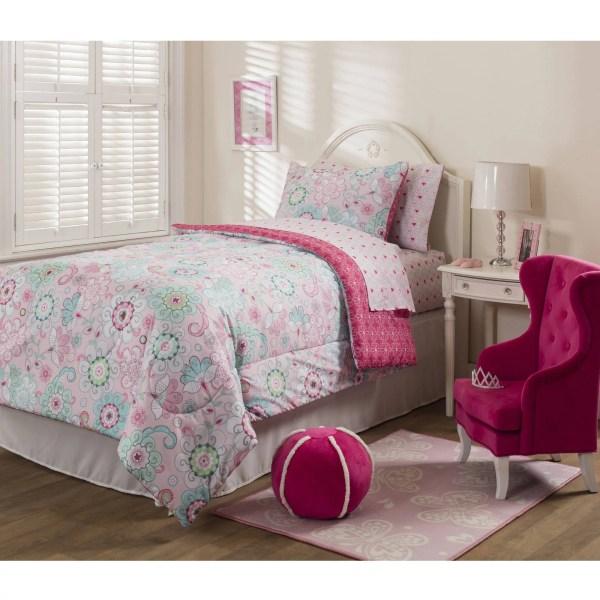 Mainstays Kids Sherbet Pink Bed In Bag Bedding Set