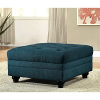 Furniture of America Booker Tufted Ottoman in Dark Teal ...