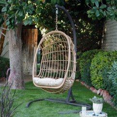 Egg Chair Swing With Stand Pottery Barn Chairs Baby Belham Living Bali Resin Wicker Hanging Cushion And Walmart Com