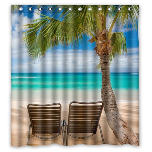 beach chair bathroom accessories heavy duty outdoor covers greendecor tropical waterproof shower curtain set with hooks size 66x72 inches walmart com