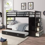 Twin Over Twin Bunk Beds For Kids 91 3 X 42 4 X 65 7 Solid Wood Kids Bed Bunk Bed W 4 Drawer 4 Step Ladder Full Length Guardrail Easy Assembly Bed Frame For Kids 240lbs Espresso