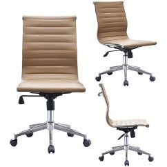 Office Chair Without Arms Desk Rollers 2xhome Tan Modern Mid Back Armless Ribbed Pu Leather Swivel Tilt Adjustable Designer Boss Executive Manager Conference Room Work Task Ergonomic No