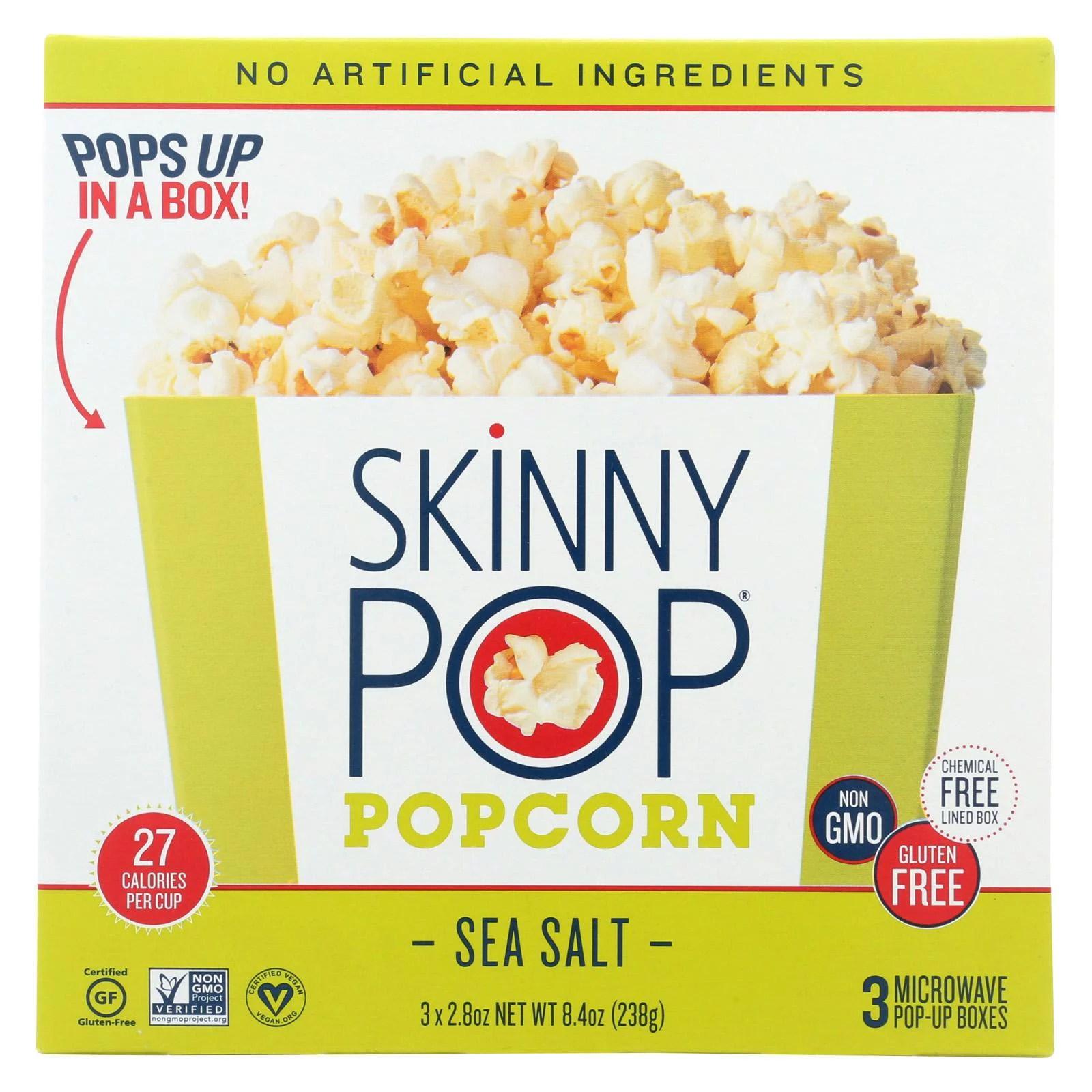 skinnypop popcorn microwave popcorn sea salt case of 12 8 4 oz