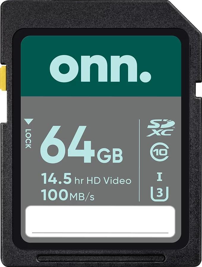 onn. 64GB Class 10 U3 SDXC Flash Memory Card. up to 100MB/s read speed - Walmart.com