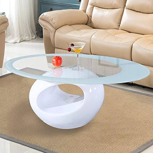mecor glass coffee table with round hollow shelf modern oval design end side coffee table with tempered clear glass top gloss white living room