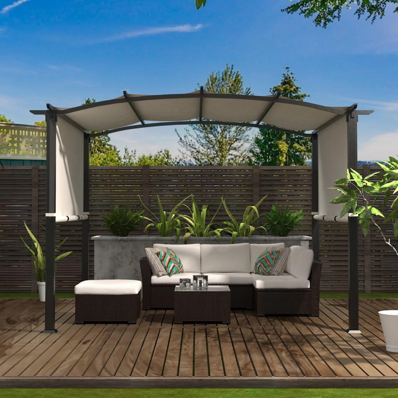 backyard discovery fireside cabana pergola with conversation seating bamboo slate