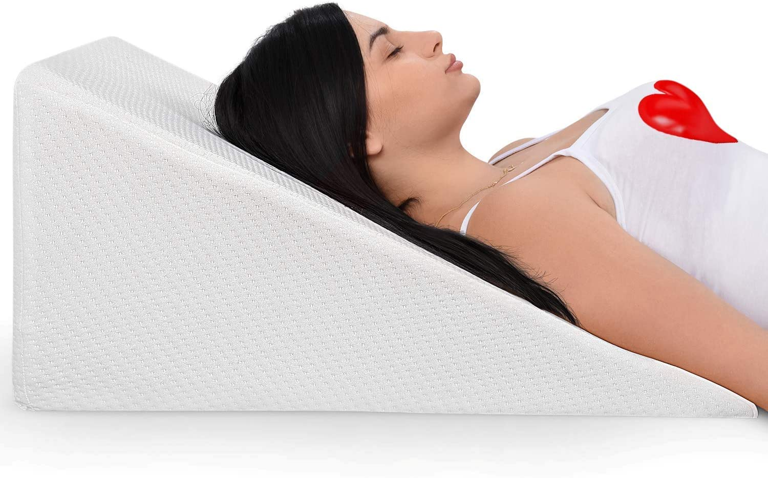 bed wedge pillow with memory foam top ideal for comfortable and restful sleeping alleviates neck and back pain acid reflux snoring heartburn