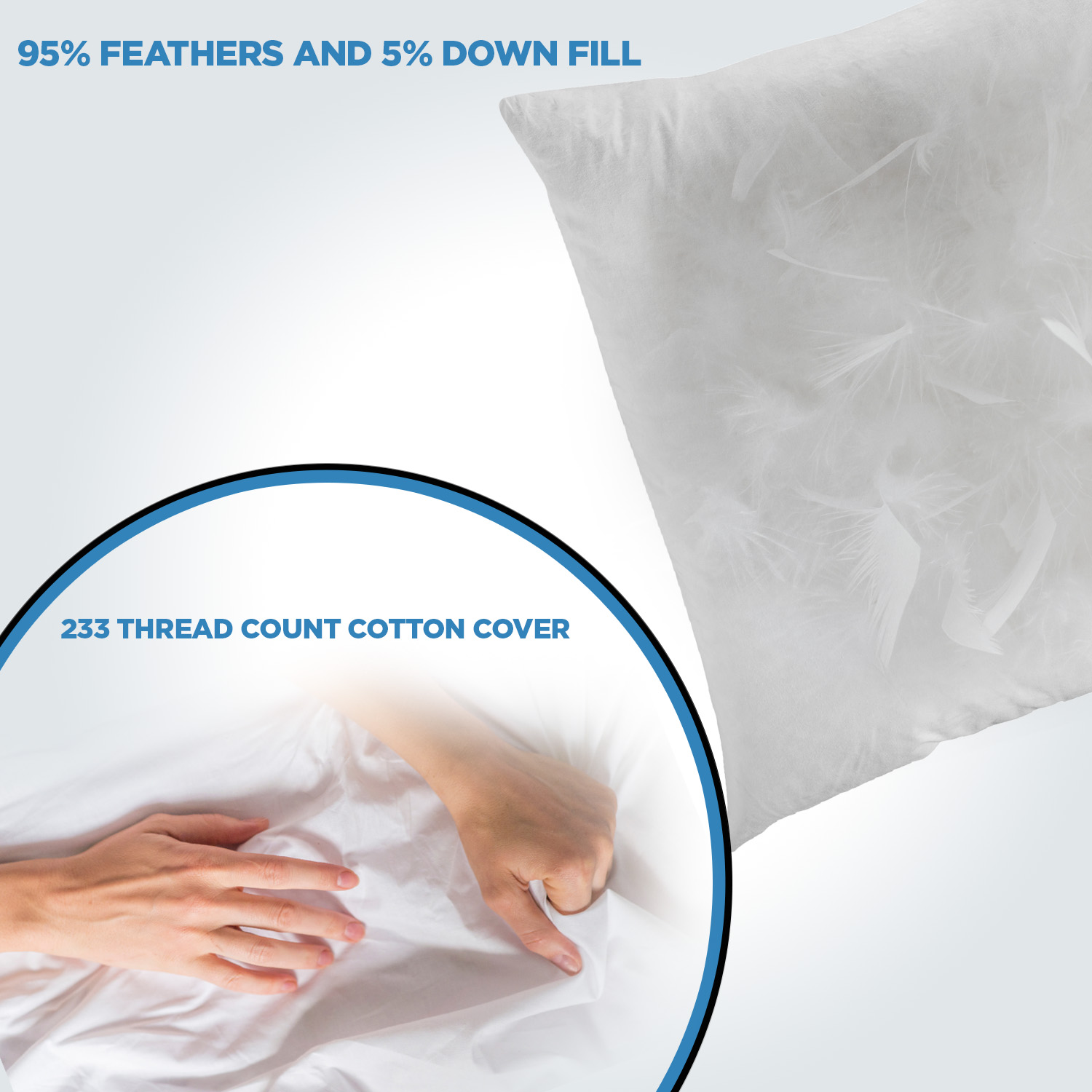 comfydown 95 feather 5 down 14 x 30 rectangle decorative pillow insert sham stuffer made in usa