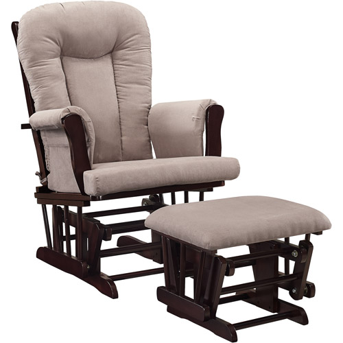 walmart rocking chair glider jual hanging baby relax rocker and ottoman espresso with gray cushions com