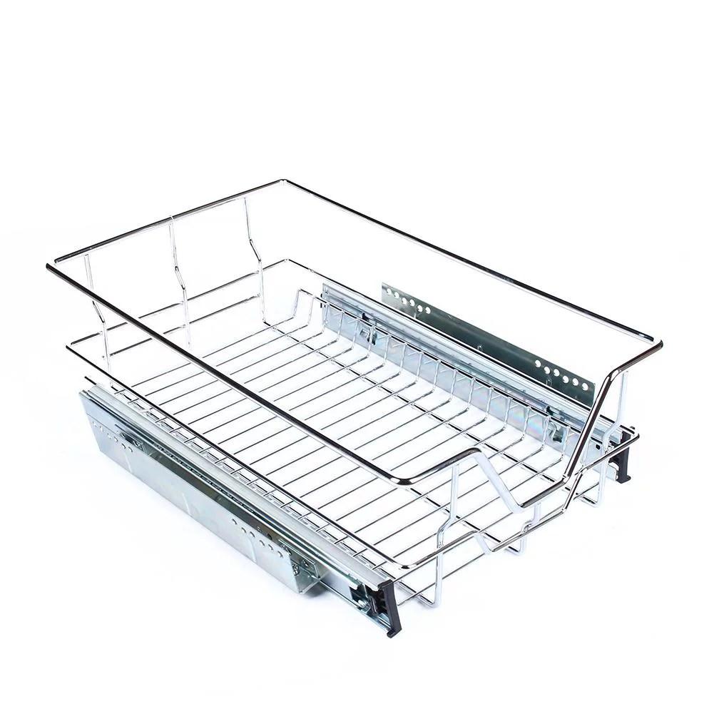 kitchen wire storage garbage cans sliding cabinet organizer vbestlife pull out chrome basket drawer cabinets walmart com