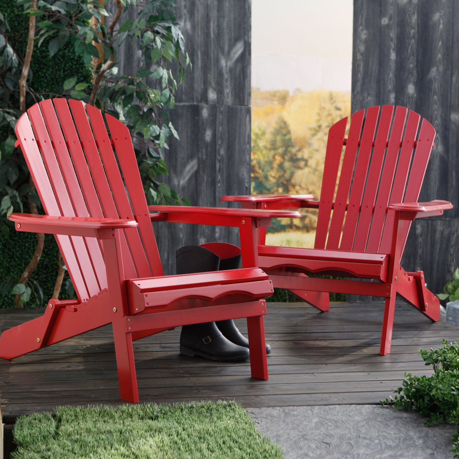 Red Adirondack Chairs Cape Cod Foldable Adirondack Chairs Red Set Of 2