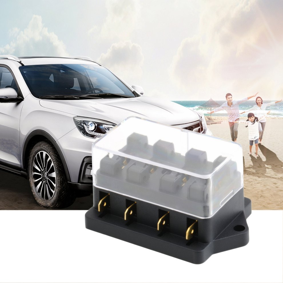 4 way fuse box dc 12v 24v max dc 32v circuit car trailer auto blade fuse box block holder atc ato 2 input 4 ouput wire christms gift [ 990 x 990 Pixel ]