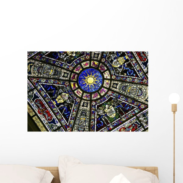 Colorful Stained Glass With Wall Mural Wallmonkeys Peel