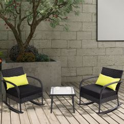 Rattan Wicker Rocking Chair Cushion Covers For Hire Sheffield Gymax 3pc Bistro Set Outdoor Patio Furnitureset W Walmart Com
