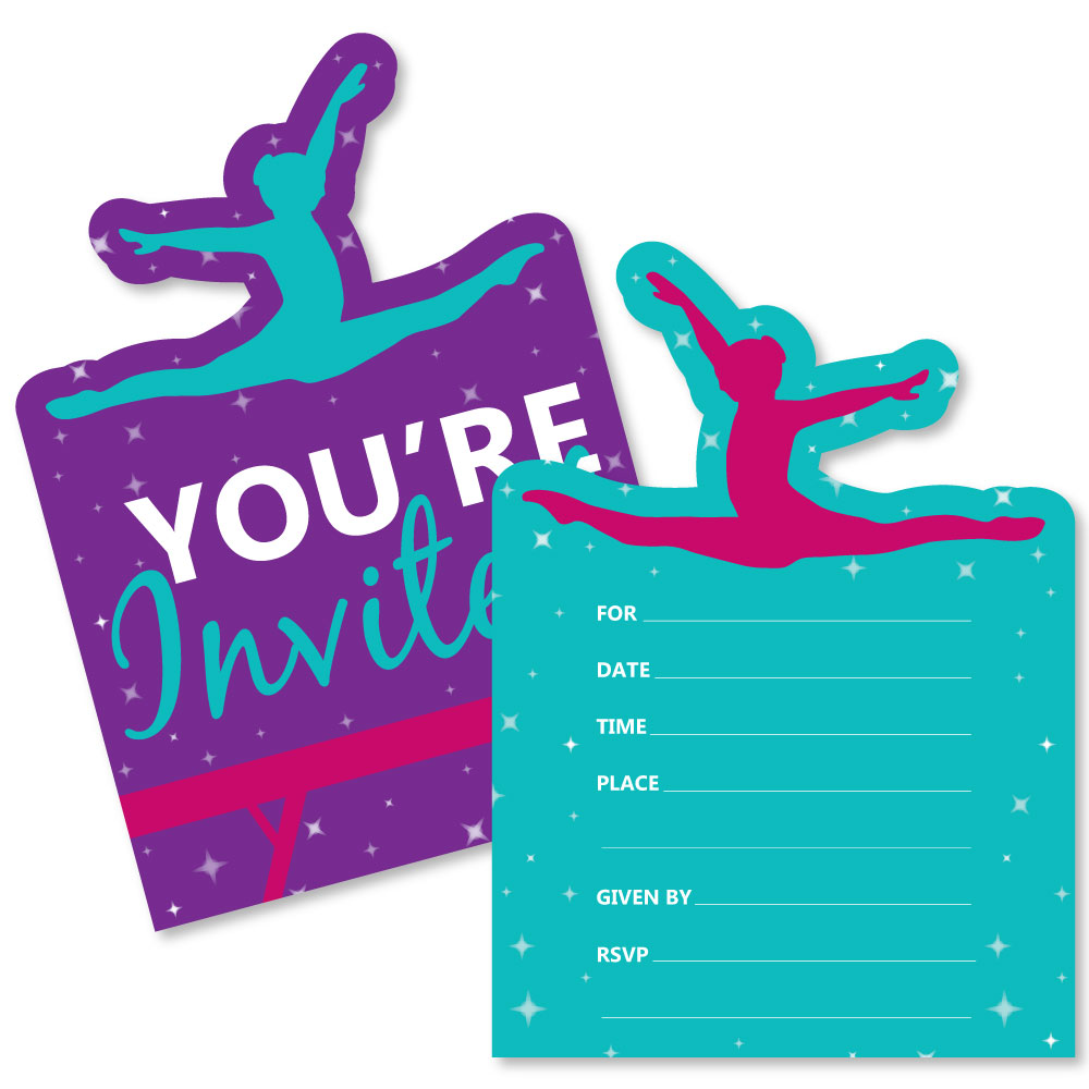 tumble flip twirl gymnastics shaped fill in invitations birthday party or gymnast party invitation 12 ct