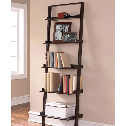 Mainstays Leaning Ladder 5 Shelf Bookcase Espresso