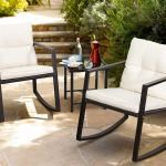 Walnew 3 Pieces Patio Furniture Set Rocking Wicker Bistro Sets Modern Outdoor Rocking Chair Furniture Sets Cushioned Pe Rattan Chairs Conversation Sets With Glass Coffee Table Black Walmart Com Walmart Com