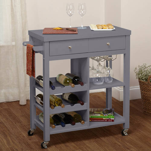 rolling kitchen carts venetian gold granite colwood wine cart, multiple colors - walmart.com