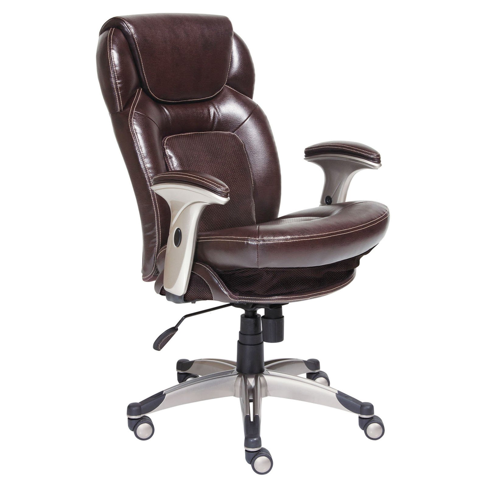 office chair quality wood desk chairs with wheels serta back in motion health and wellness mid bonded leather frye chocolate walmart com
