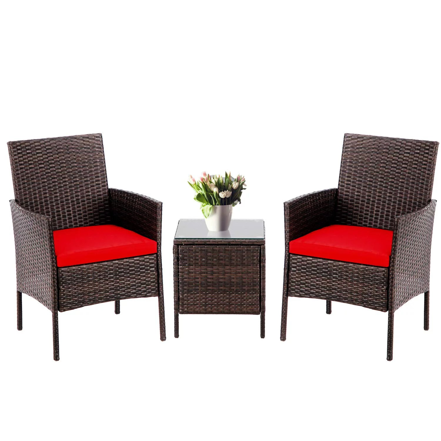 suncrown 3 piece patio bistro outdoor furniture set all weather brown wicker and glass side table red cushion