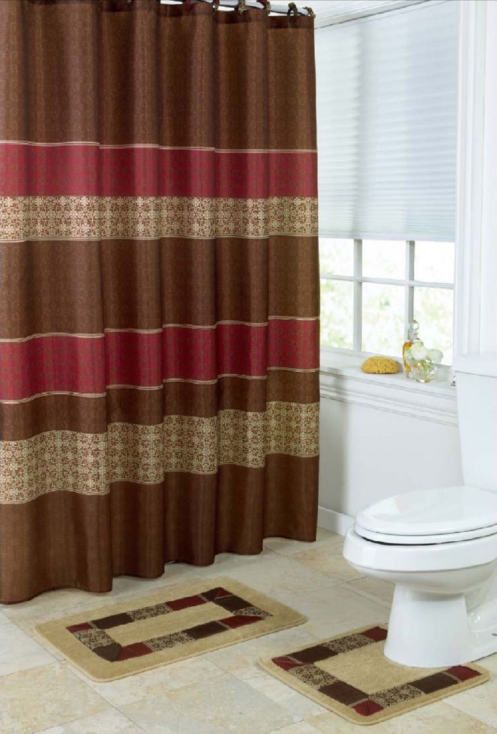 15 piece bath set 2 taupe brown burgundy bathroom mats 1 matching shower curtain 12 fabric rings medici walmart com