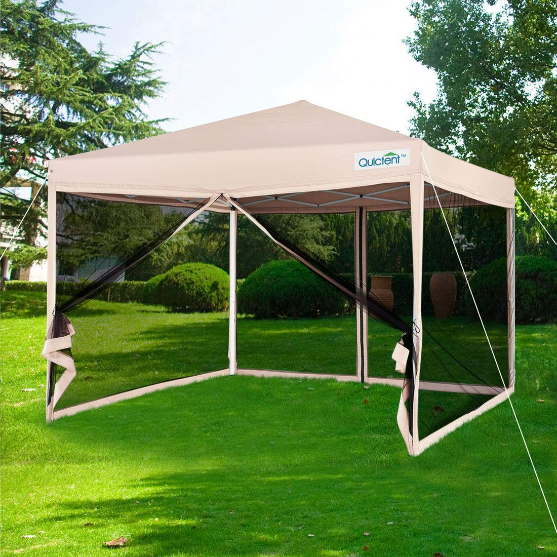 quictent 10x10 ez pop up canopy screen house with netting instant outdoor canopy tent mesh sideswalls tan 4 sizes