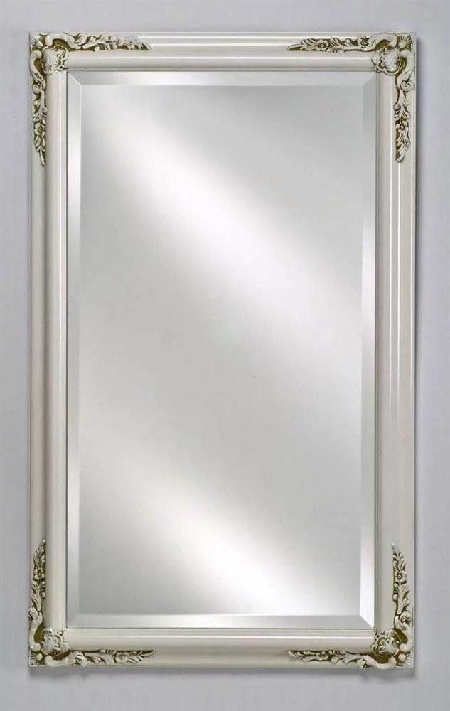 Estate Decorative Wall Mirror In Antique White Finish