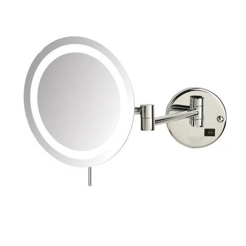 Jerdon LED 8x Magnifying Wall Mount Makeup Mirror