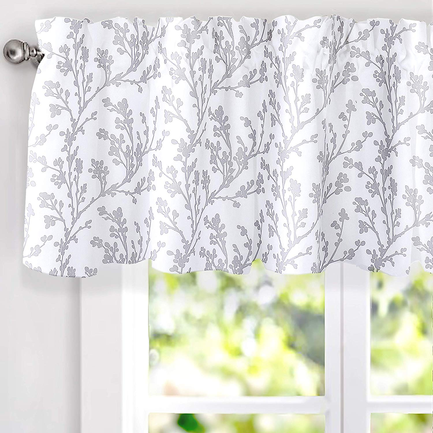 driftaway sarah floral tree branch pattern thermal insulated blackout window curtain valance rod pocket 2 layers 52 inch by 18 inch gray