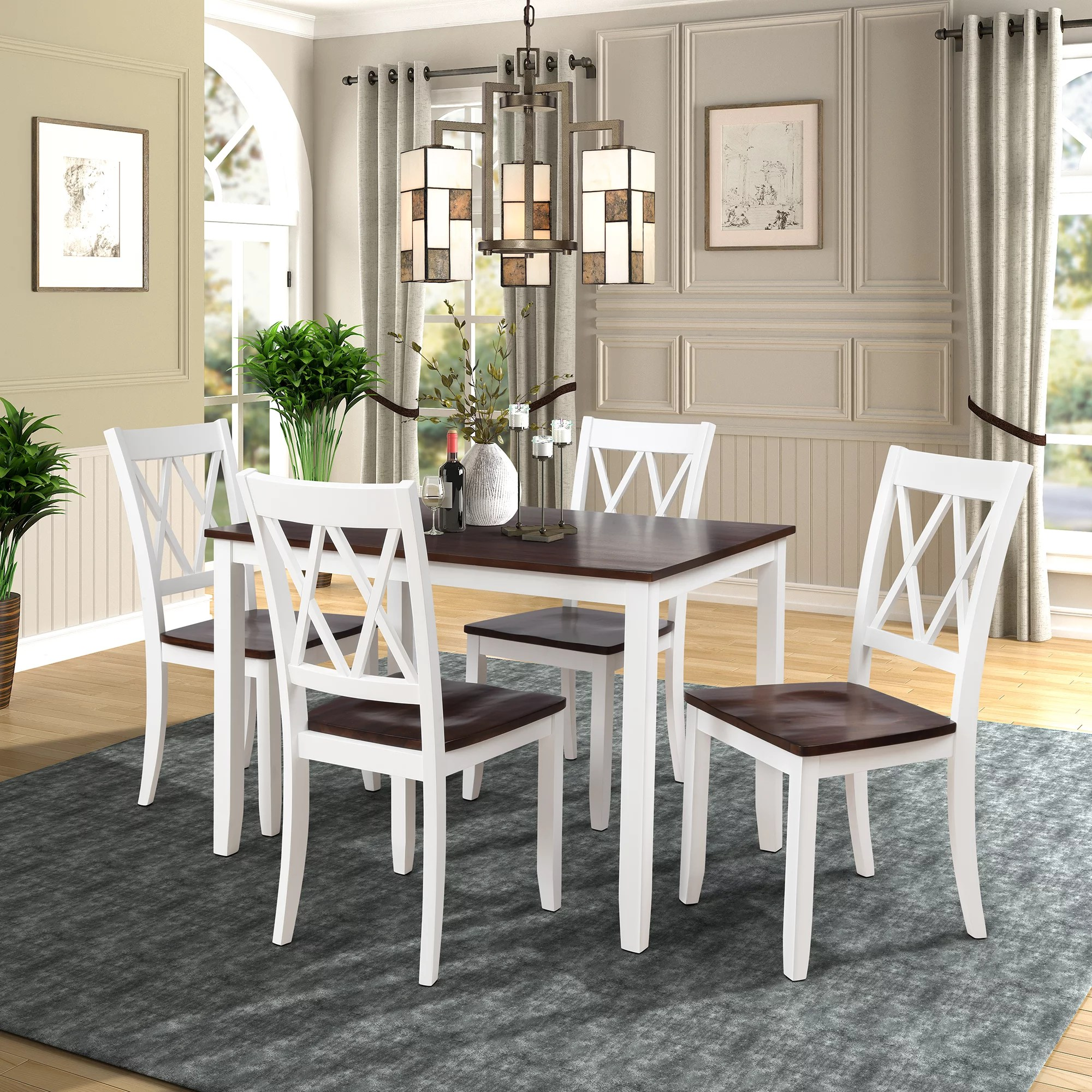 https www walmart com ip goolrc 5 piece dining table set home kitchen table and chairs wood dining set white cherry 704816591