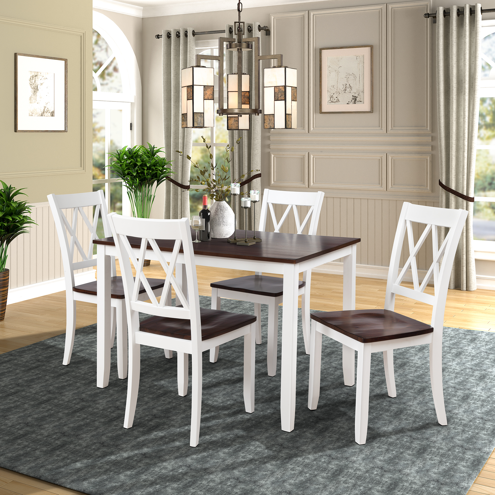 5 Piece Kitchen Table Set Modern Dining Table Sets With Dining Chairs For 4 Heavy Duty Wooden Rectangular Dining Room Table Set With White Finish For Home Kitchen Living Room Restaurant L856