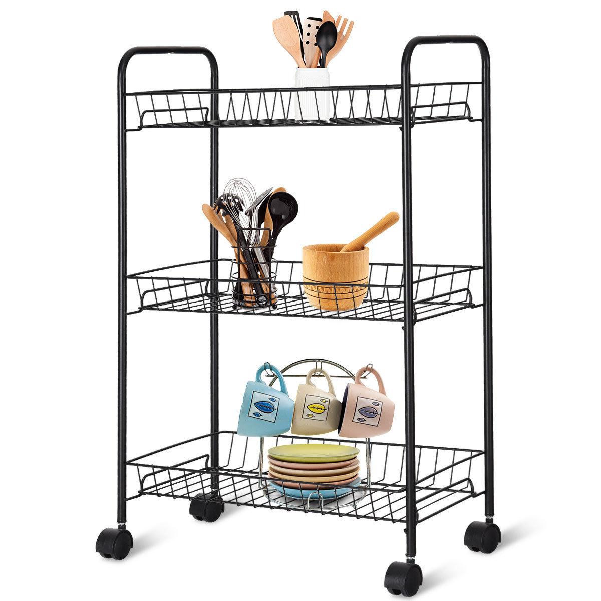 kitchen wire storage round sink 3 tier rolling trolley utility cart metal shelf baskets