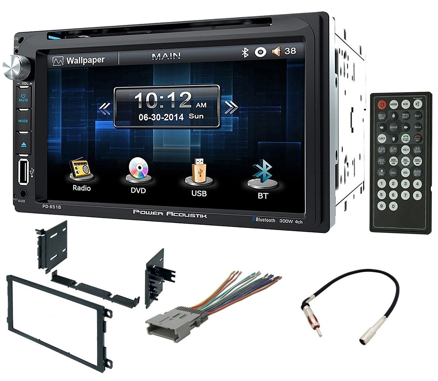 hight resolution of double din installation kit harness and adapter for select 90 up gm honda isuzu suzuki vehicles 90 up with power acoustik pd 651b 6 5 double din lcd
