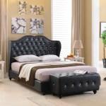 Black Faux Leather King Size Crystal Button Tufted Upholstered Platform Slat Bed Wood Frame Walmart Com Walmart Com