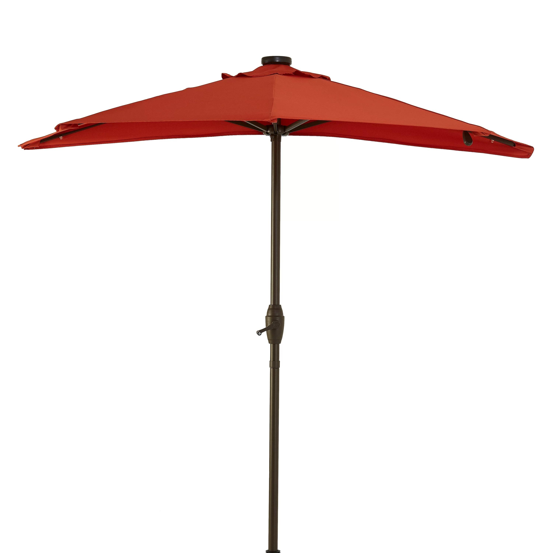 better homes gardens 7 red half round patio umbrella with solar lights