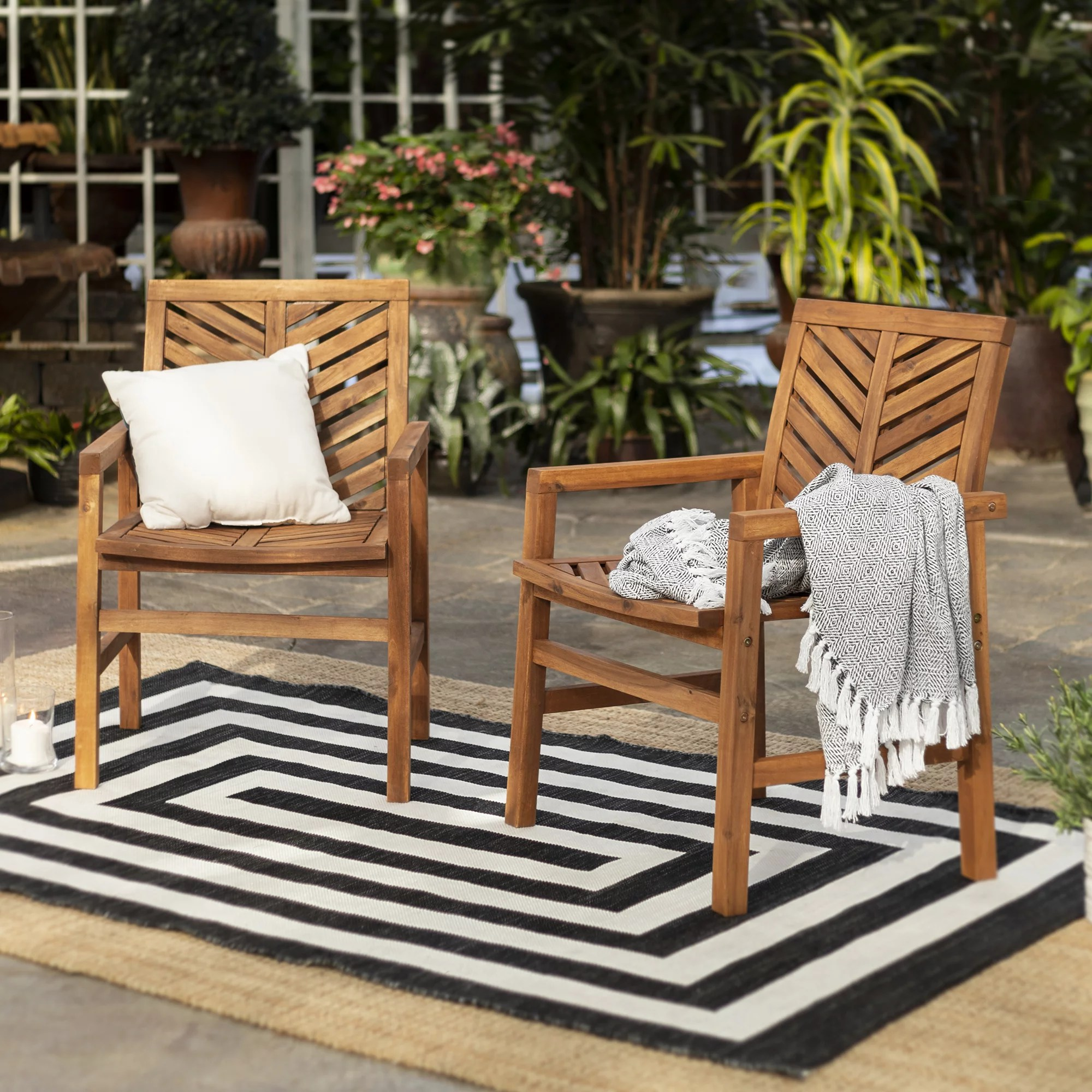 brown chevron outdoor wood patio chairs by manor park set of 2