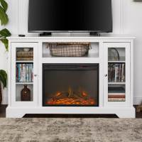 WE Furniture 52-inch Highboy Fireplace Wood TV Stand ...