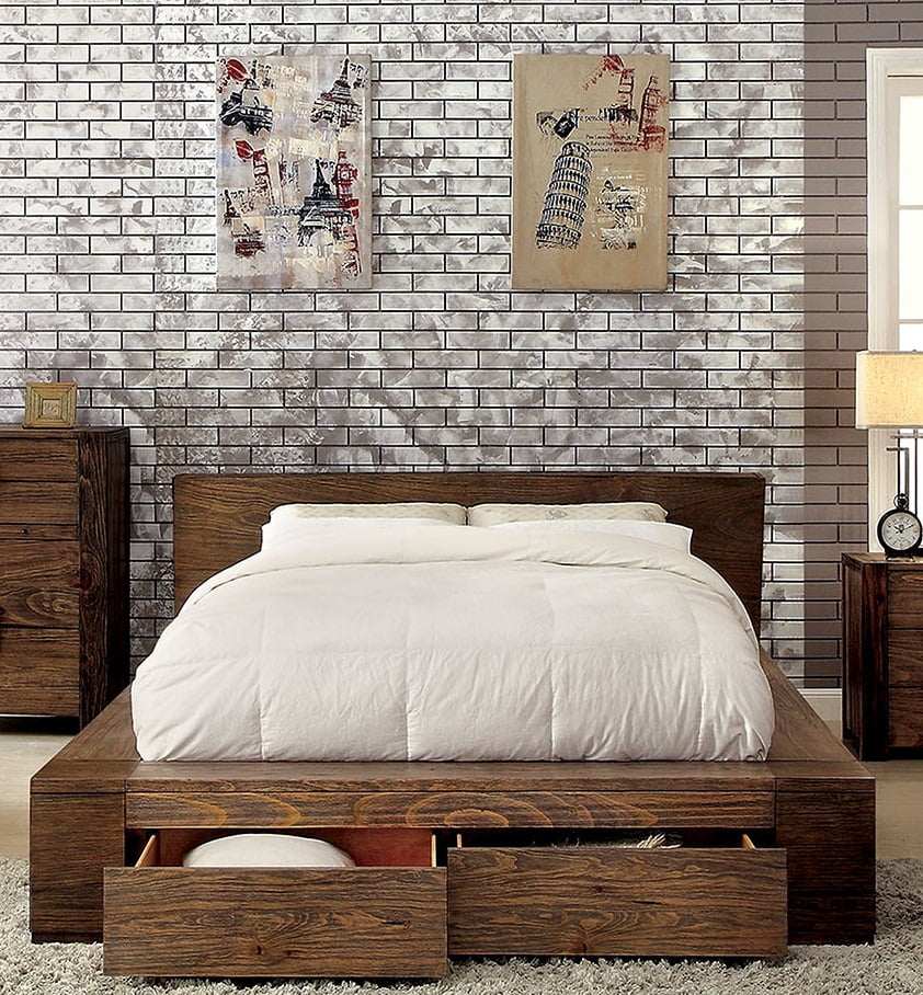 queen size bed rustic natural tone finish low profile bed w storage drawers fb bedroom furniture 1pc bed solid wood