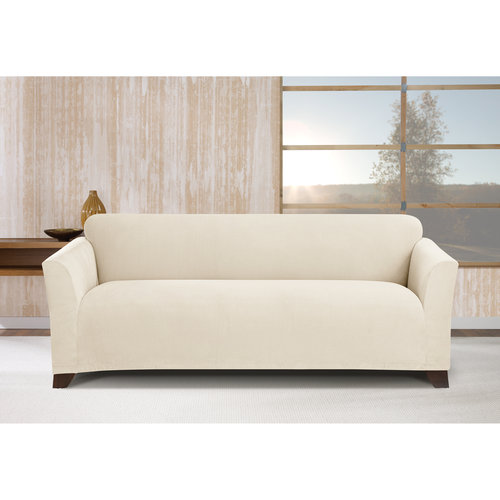 stretch morgan 1 piece sofa furniture cover sleeper with nailheads ivory walmart com
