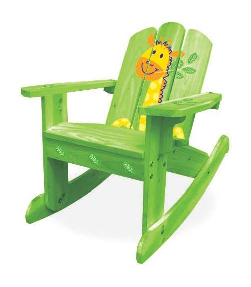 kids wood rocking chair power wheelchair batteries medicare adirondack wooden in green safari walmart com