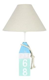 Coastal Blue and Teal Wood Buoy Lamp with Shade 40 Watt 21 ...