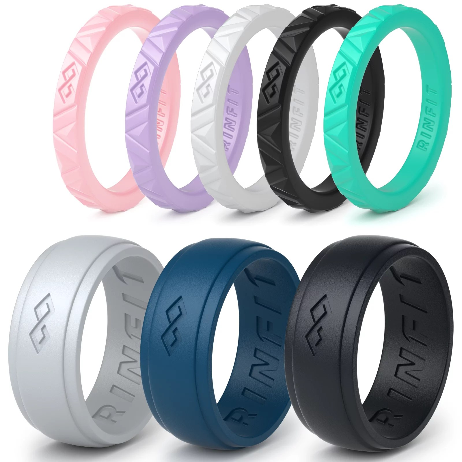 rinfit silicone wedding rings rubber wedding bands for men and women 8 ring pack by rinfit walmart com