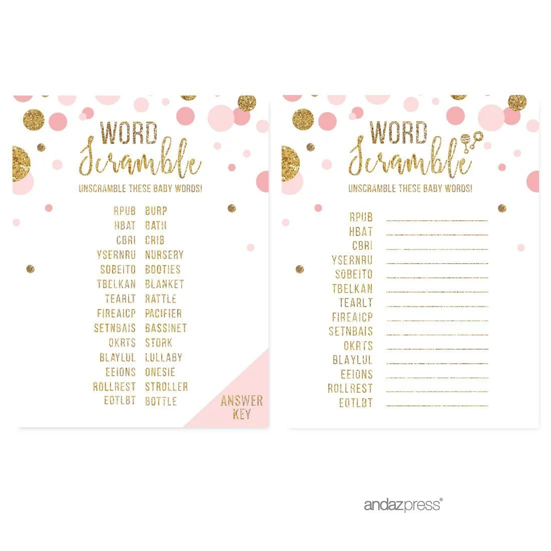 Word Scramble Game Blush Pink Gold Glitter Baby Shower
