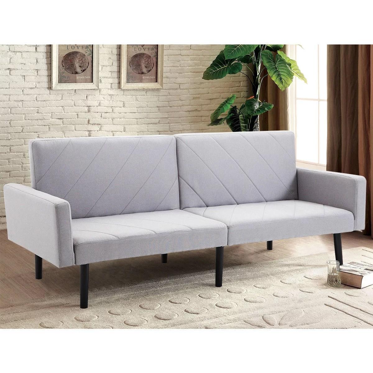 costway futon sofa bed convertible recliner couch splitback sleeper w wood legs gray