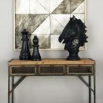 Decmode 43 X 32 Metal Natural Wood Console Table With Metal Mesh Screen Drawers Walmart Com Walmart Com
