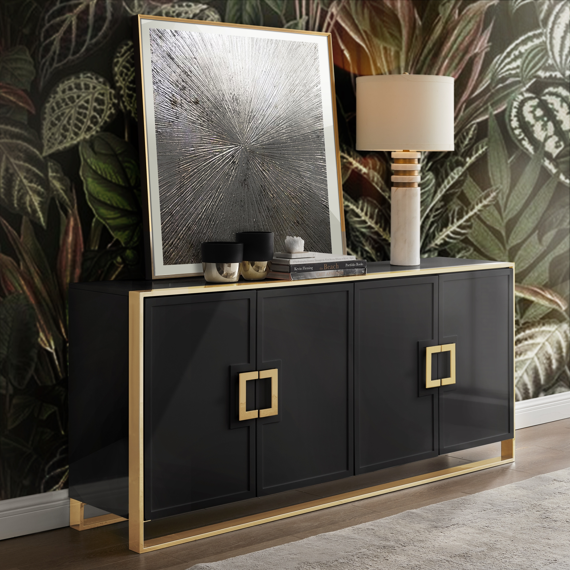 Inspired Home Moani Sideboard Buffet 4 Doors Polished Gold Handle And Leg Tip 2 Adjustable Shelves Black Walmart Com Walmart Com
