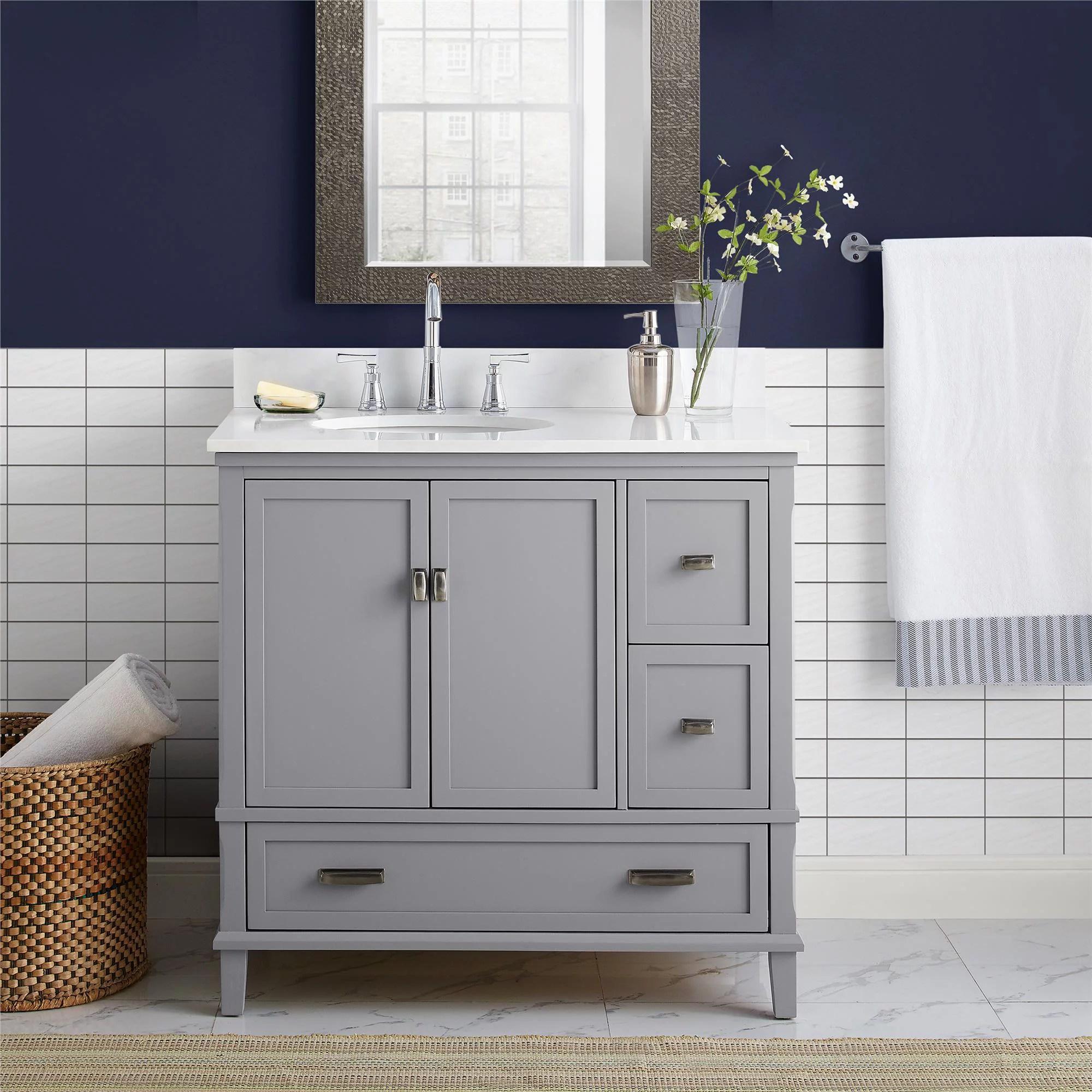 dorel living otum 36 inch bathroom vanity with sink gray wood