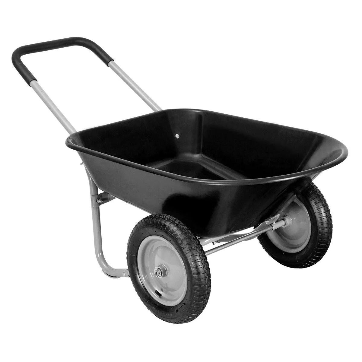 gymax heavy duty 2 tire wheelbarrow