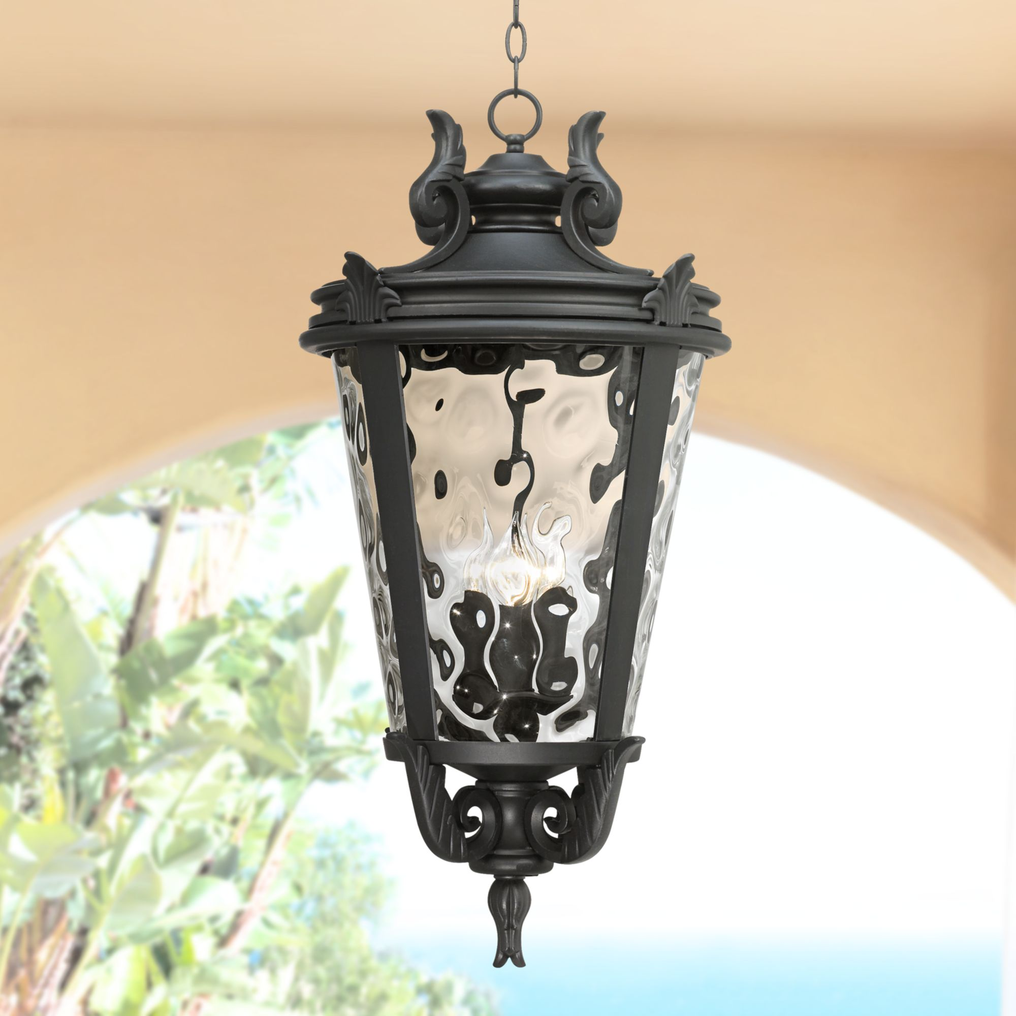 john timberland traditional outdoor light hanging textured black scroll 30 clear hammered glass damp rated for porch patio walmart com